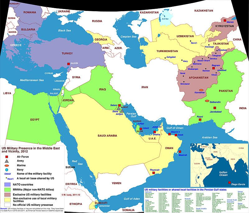 Map of US military presence in the Middle East 2012 [800 x ...