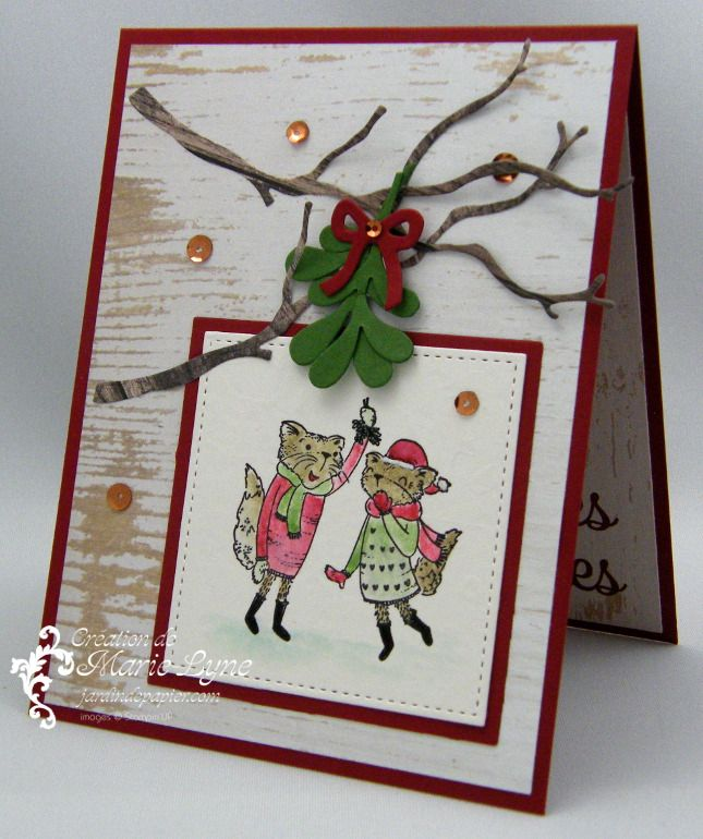 Carte De Noel Avec Mistletoe Friends Scrapbooking Stampin Up