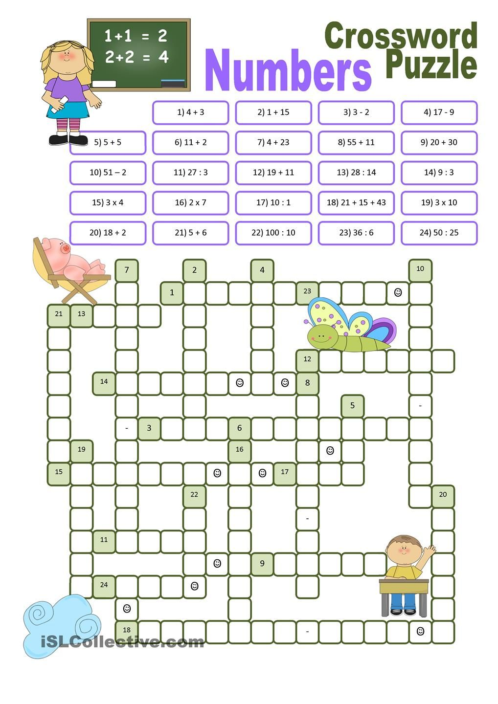 Crossword Puzzle Numbers School Pinterest Number