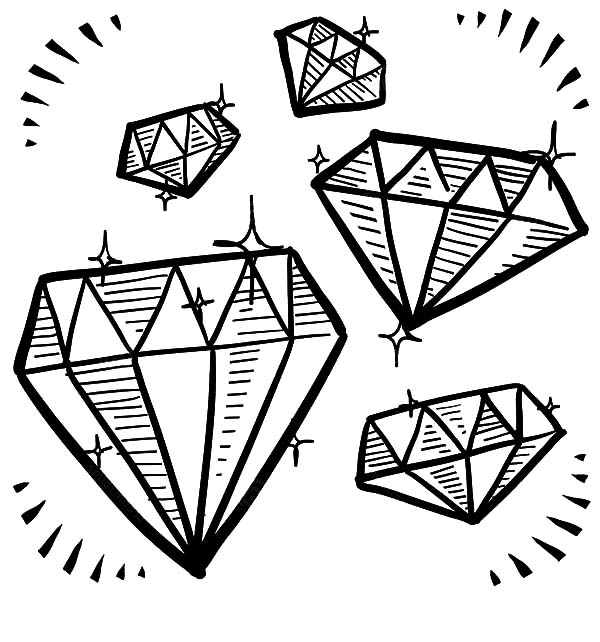 Diamond Shape Gem Sketches Coloring Pages Kids Play