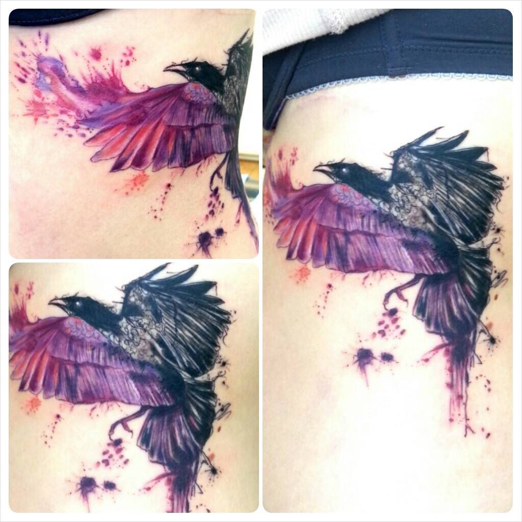 watercolor raven tattoo by joanne baker the british and