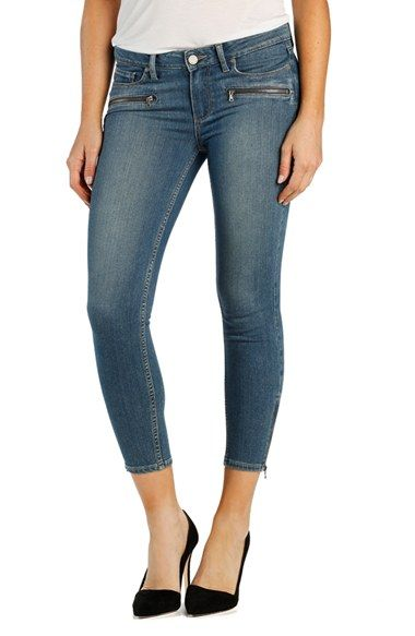 Paige Denim 'Transcend - Jane' Crop Zip Skinny Jeans (Jace No Whiskers)