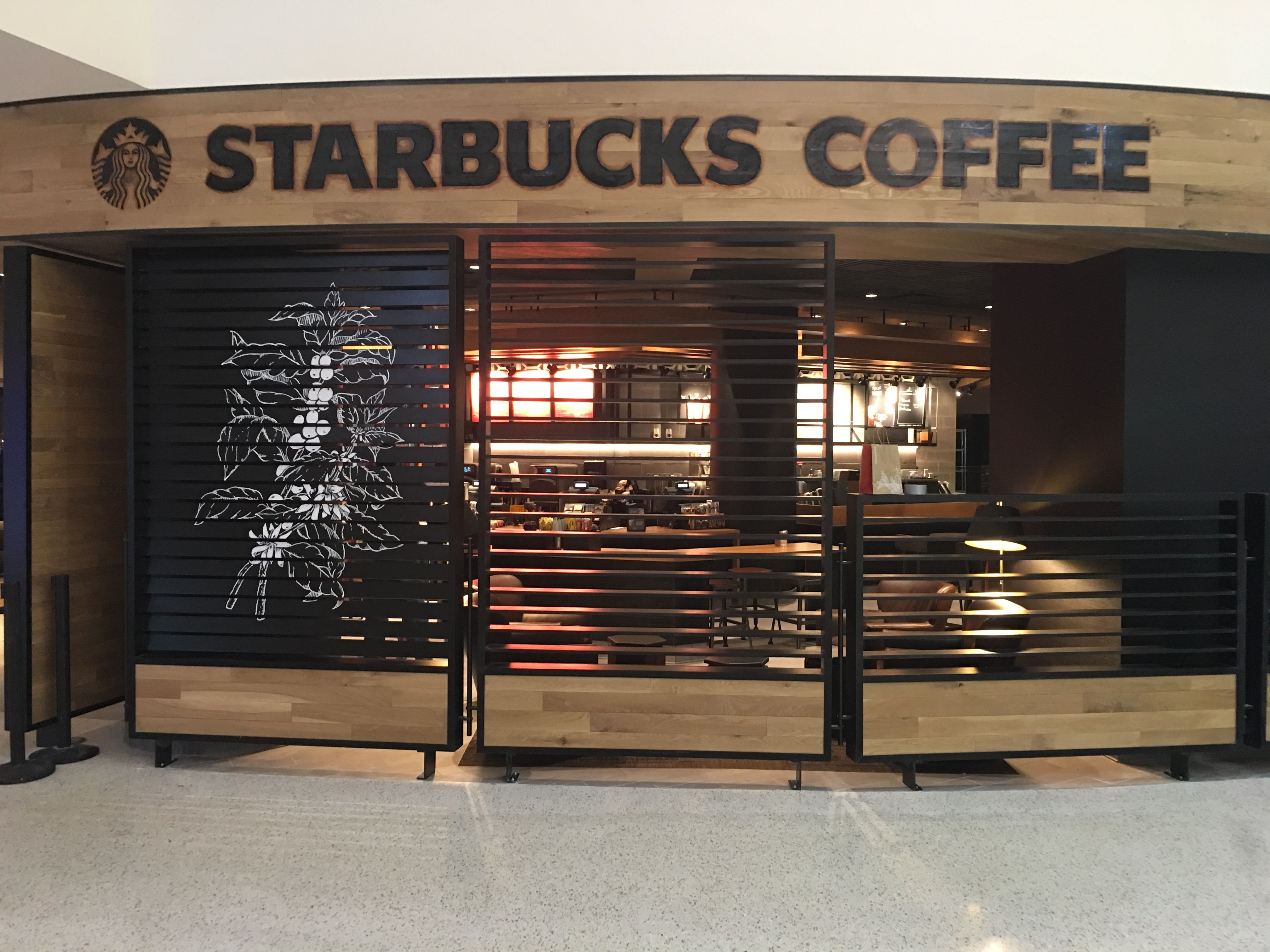 Branded Wood Starbucks Coffee Look Painted Along The Top With