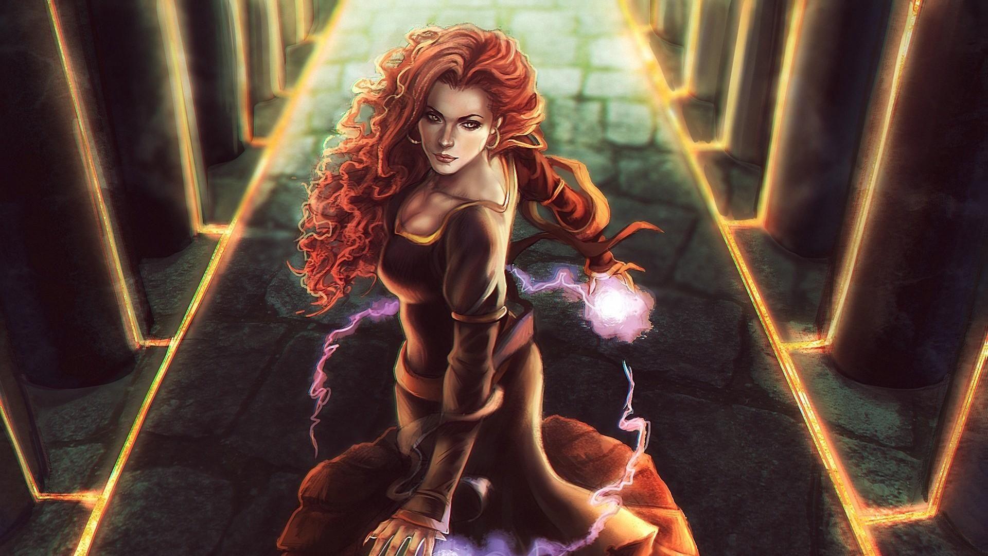 Triss Merigold Wallpaper Magic Drawing Witcher Art