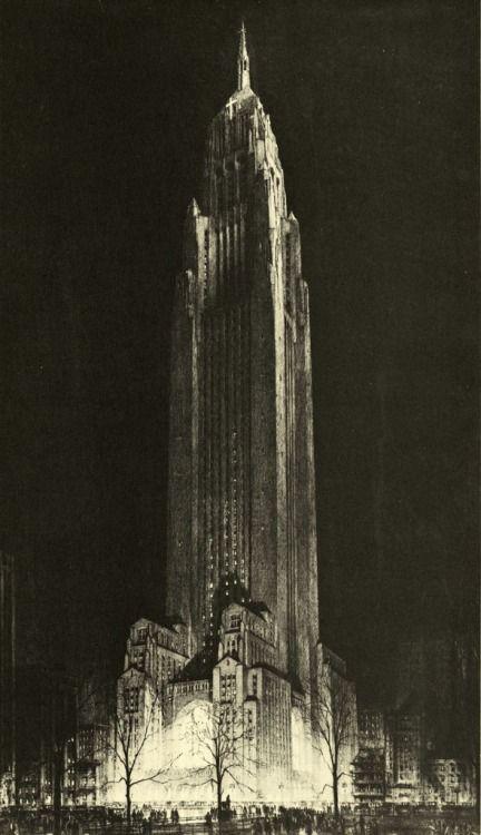Another fantastical Ferris-imaged skyscraper. blueruins:   Hugh Ferriss