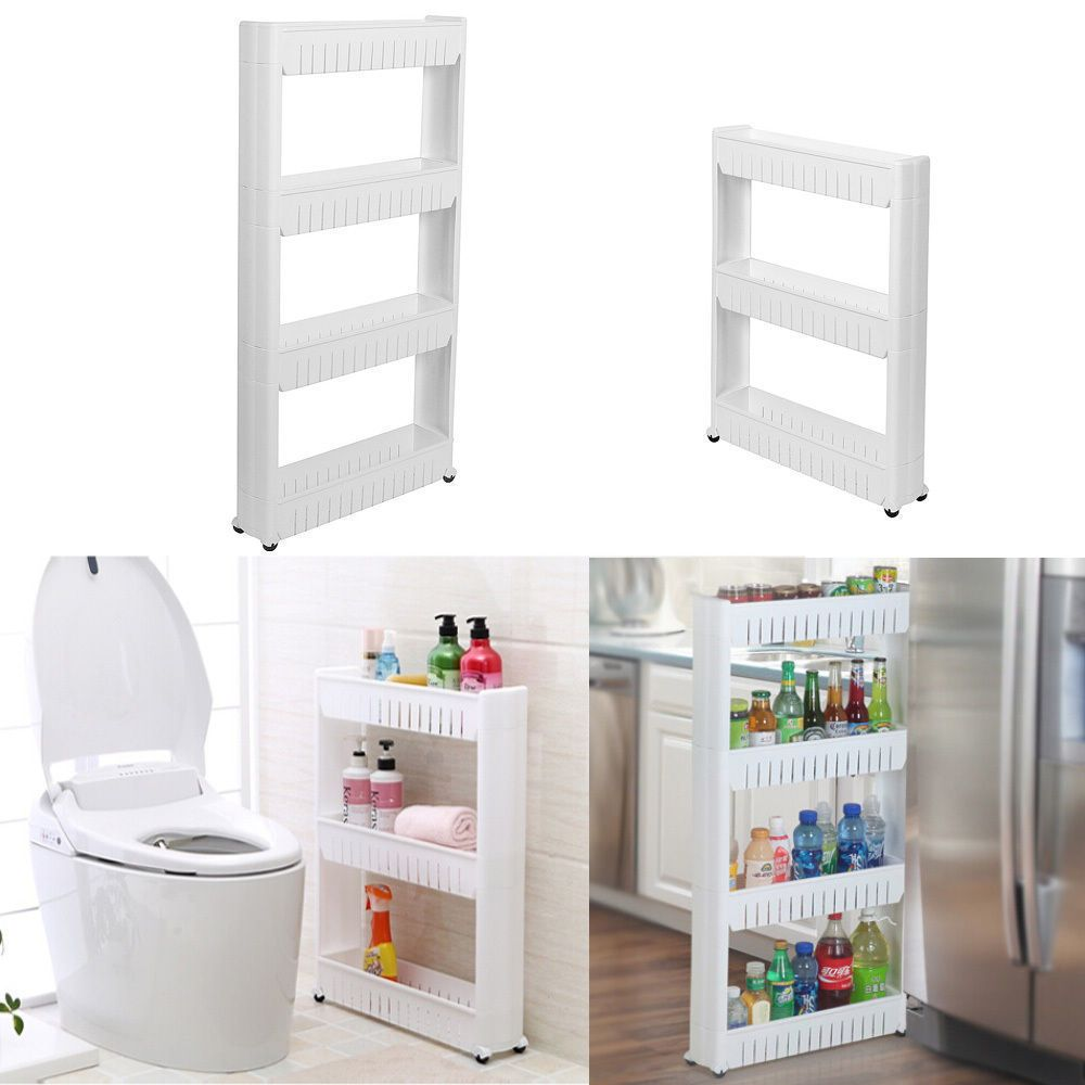 Slideout Storage Tower Trolley Organizer Slim Narrow Space Laundry