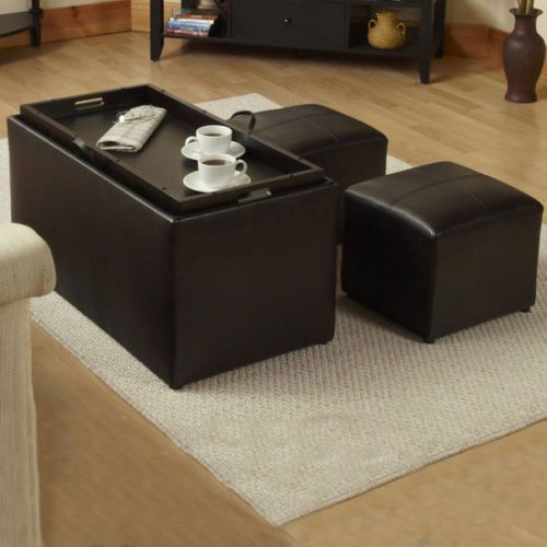 4 Piece Office Tv Family Entertainment Game Room Storage Ottoman