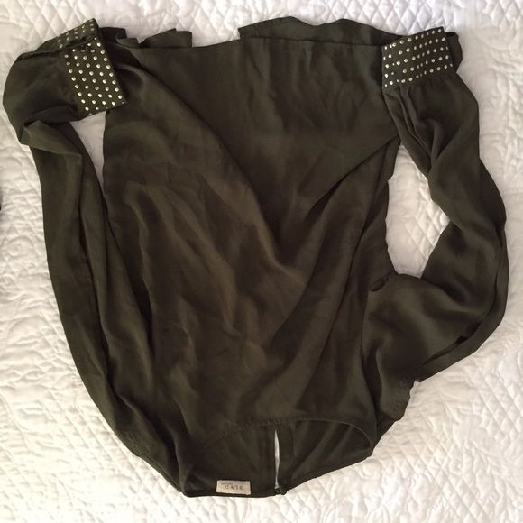 Army green, gold studded cutout top super cuteeee omg so it has cutouts on the arms and a little slit on the lower back gold studded detail boutique brand named BLVD i think its a M but it can fit a L Anthropologie Tops Blouses