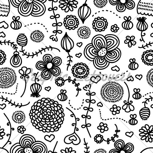 Flowers And Bees. Hand Drawn Pattern | Hand drawn pattern ...