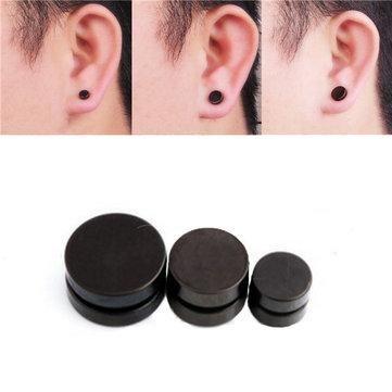 Men Black Magnetic Rounded Ear Clip Studs Earrings Non Piercing