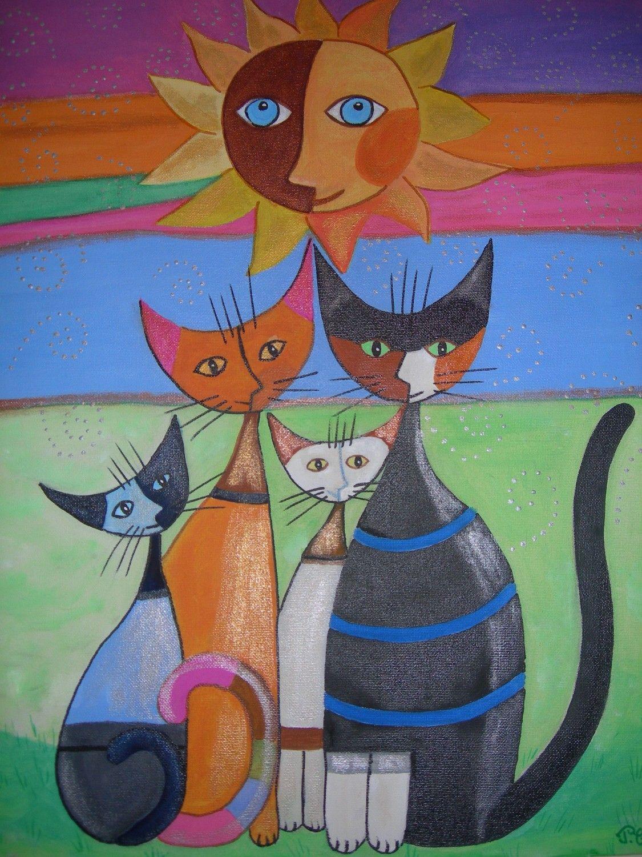 famille chats chats Dessin à la main  Peinture  chats en