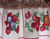 Retro Kitchen Curtain Valance New Fabric 48 X 13 Fruit