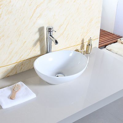 Oval Bathroom Ceramic Counter Top Wash Basin Sink Washing Bowl Modern Design Uk