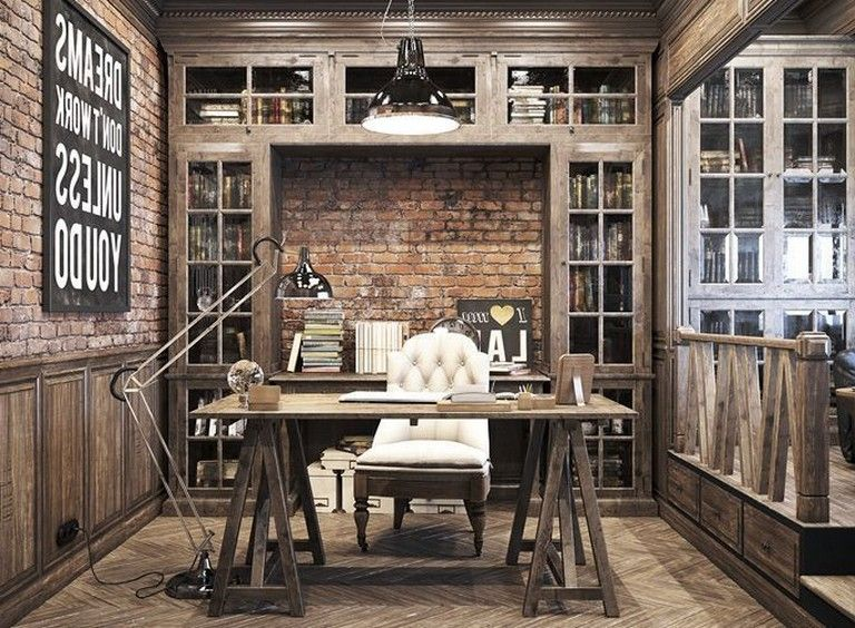48 Elegant Office Decor Ideas For Small Apartment Rustic Home