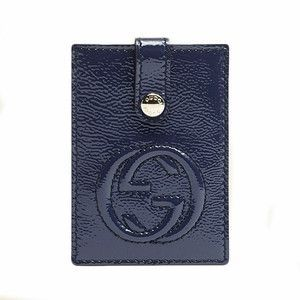 0ef094c948f8b3 Gucci Soho Navy Blue Patent Leather Business Card Case 338331 AB80G ...