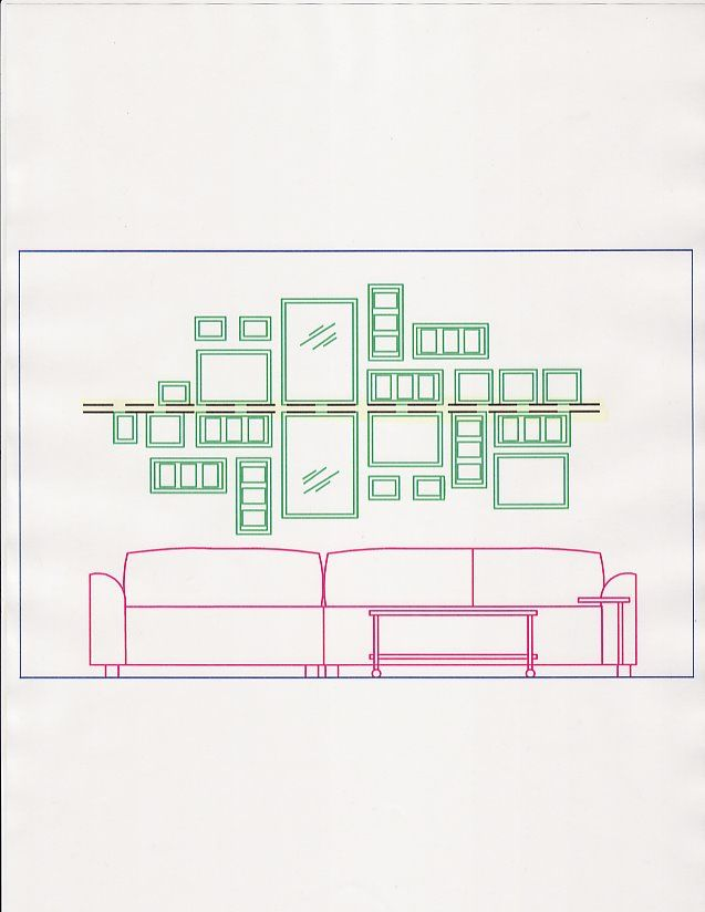 Picture Collage above the couch - straight line in the middle | Wall ...