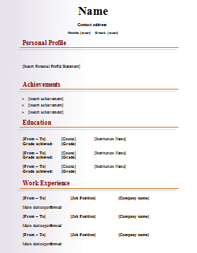 Free Download Curriculum Vitae Blank Format - Http://Www