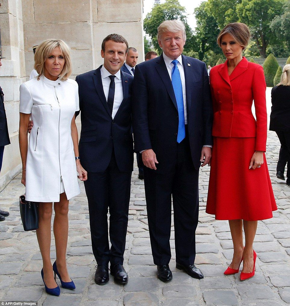 First Ladies Melania Trump and Brigitte Macron look stylish in Paris
