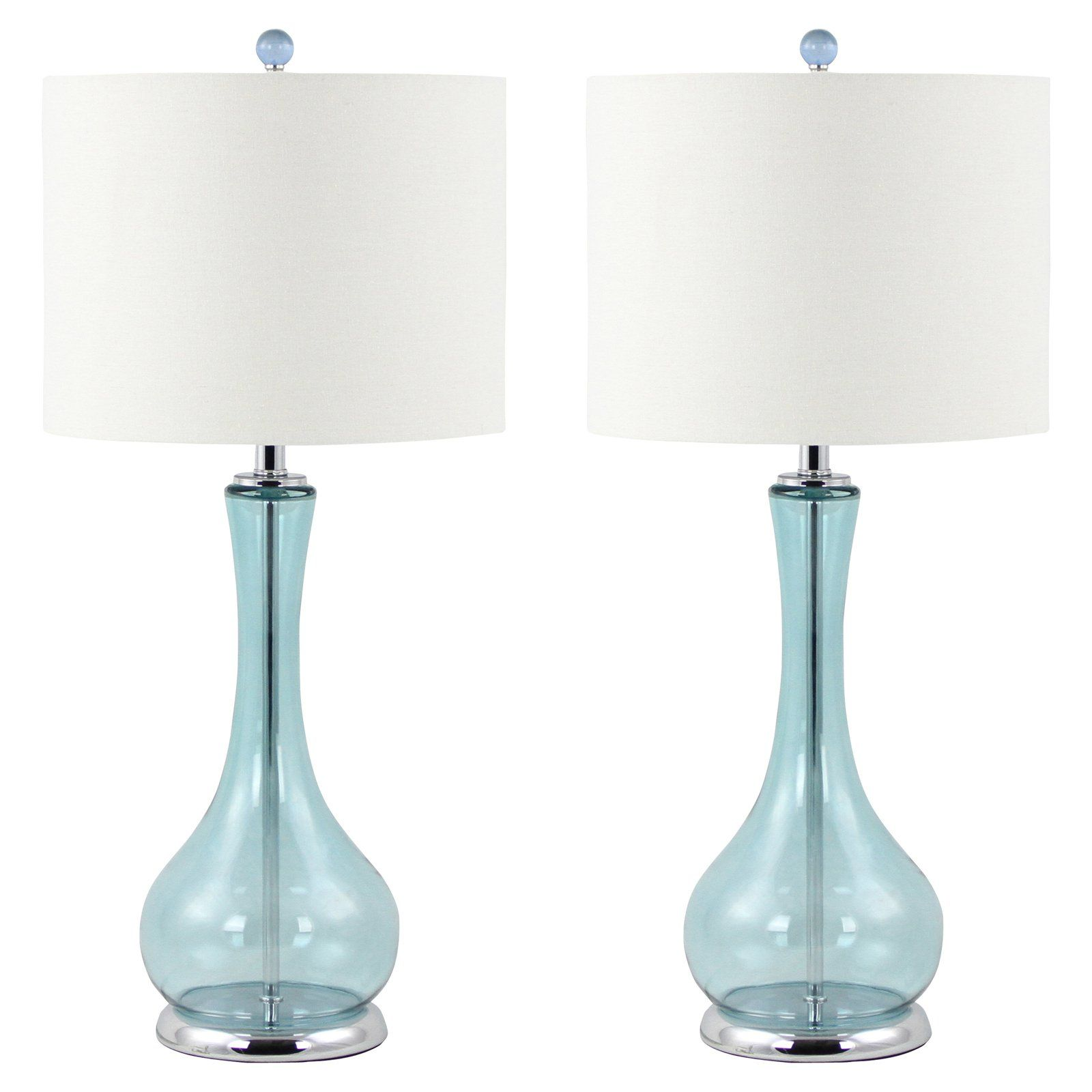 Aspire home accents josie table lamp set ocean blue vase shaped aspire home accents josie table lamp set ocean blue vase shaped glass bases create aloadofball Image collections