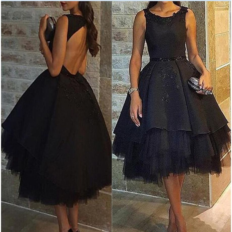Click to buy ucuc short black ball gown evening dresses scoop