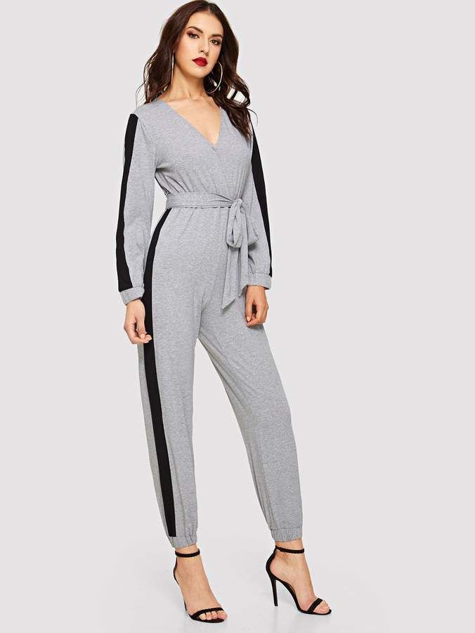 c4bf4e315d0f0 Shein Surplice Neck Contrast Side Seam Belted Jumpsuit in 2019 ...