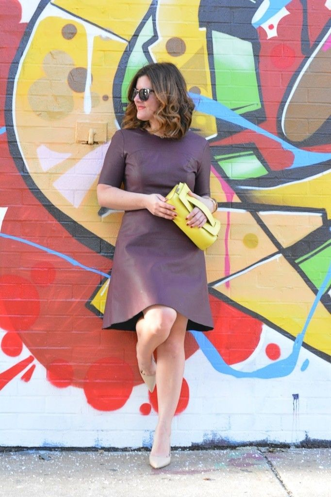 Chicago blogger, Tart Collection Faux Leather Dress, Chloe Clutch, Nude Kate Spade Heels, Graffiti Wall Chicago