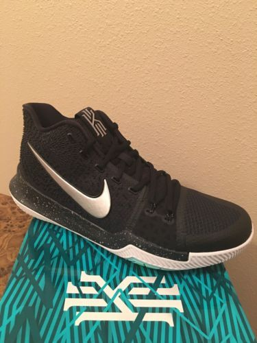 the latest 455c4 c08a4 Nike KYRIE 3 Black Ice BLACK METALLIC SILVER-WHITE 852395 018 Irving Size 13