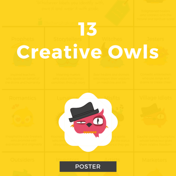 13 Creative Owls Poster - a description of each creative type throughout history