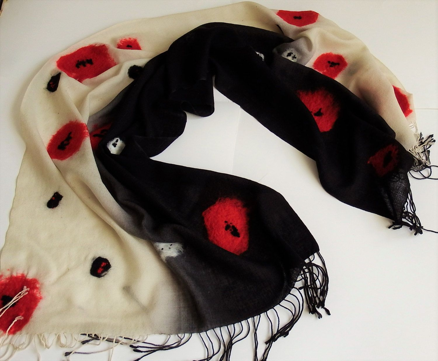 Wool shawl, nunofelted, wrap with red flowers, poppies, Christmas gift, textile scarf, for her, winter unique accessory, wearable art, 2017 by Katrinmania on Etsy