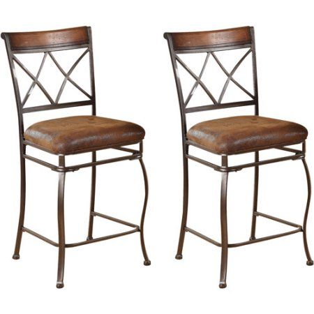 Pleasant Acme Ceara Counter Chair Set Of 2 Saddle Brown Products Uwap Interior Chair Design Uwaporg