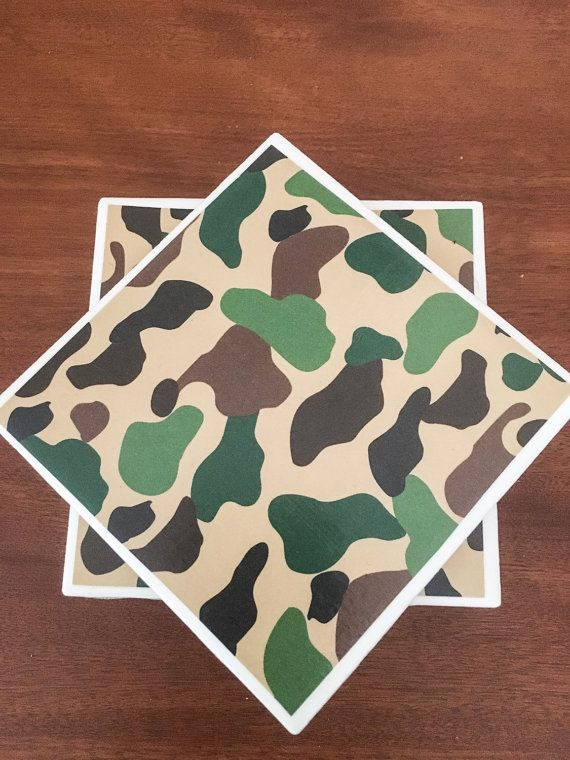 Camoflauge tile coasters camo coasters ceramic by KCstylejewelry