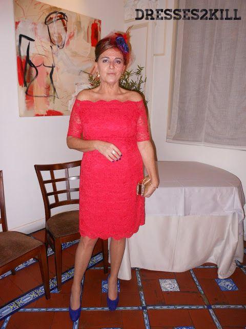 Vestido Testiga -  boda encaje rebrode rojo escote barco  www.dresses2kill.com