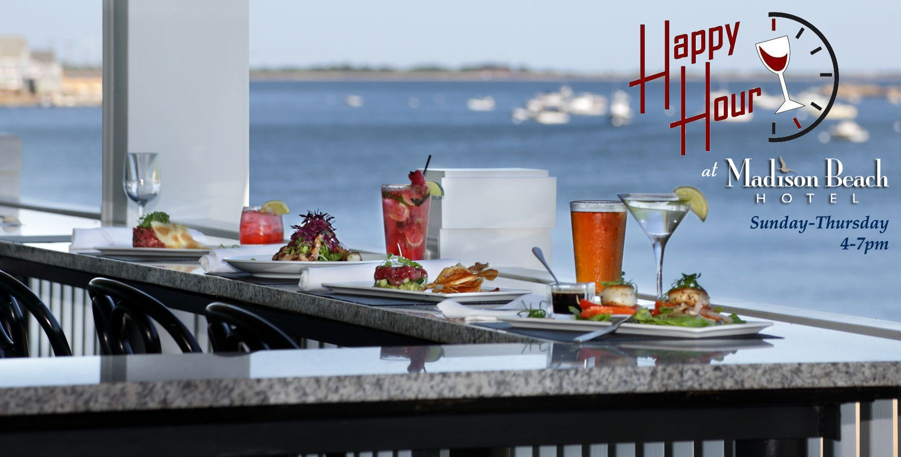Announcing the new happy hour menu at the madison beach hotels wharf restaurant