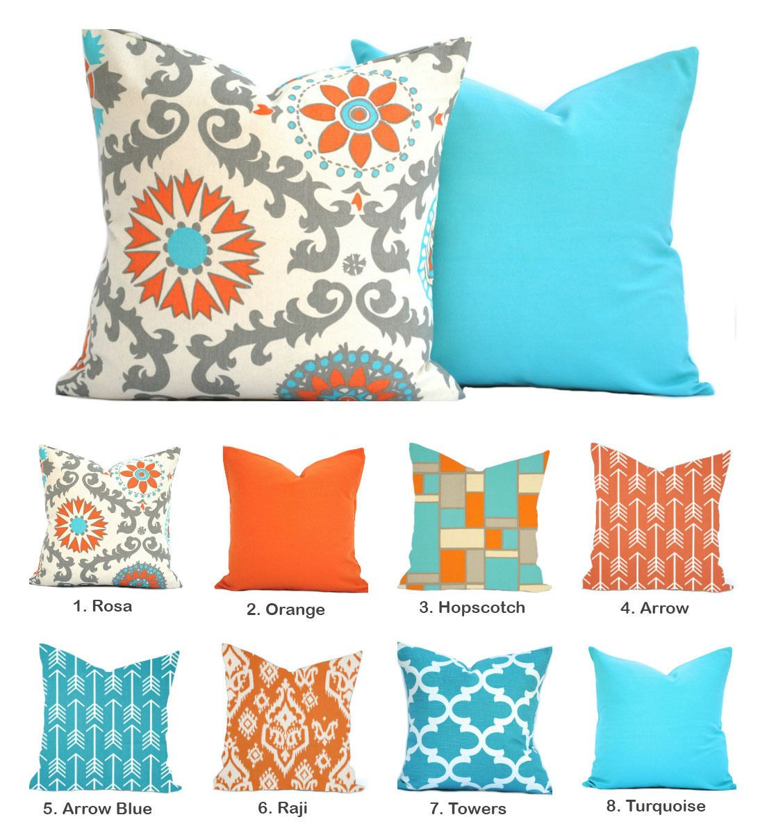 Orange Turquoise Pillow Cover Arrow Medallion Blue Floral Yellow Pillow Turquoise Pillows Turquoise Pillow Covers Orange And Turquoise