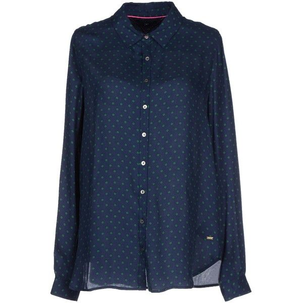 Tommy Hilfiger Shirt ($92) ❤ liked on Polyvore featuring tops, dark blue, tommy hilfiger tops, long sleeve shirts, blue top, blue long sleeve shirt and flannel shirts