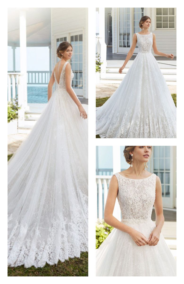 A Line Wedding Dress In Tulle And Beaded Lace Bateau Neckline And