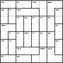 image relating to Kenken Printable known as 8x8 KenKen puzzle, all 4 functions KenKen Puzzles