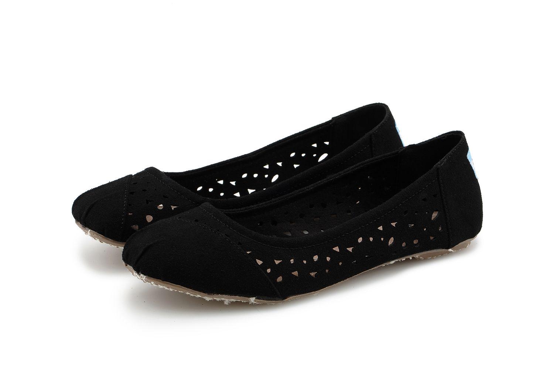 Toms Moroccan Cutout Womens Ballet Flats Black Sneakers