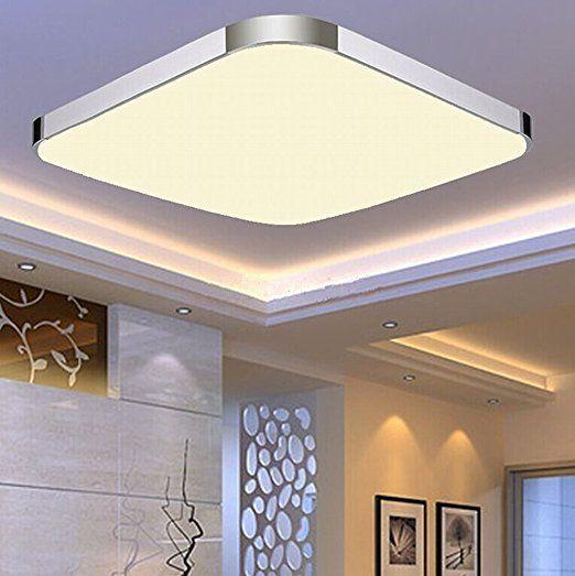 ETiME® LED Deckenleuchte Warmweiss Deckenlampe Modern Wohnzimmer Lampe  Schlafzimmer Küche Panel Leuchte 2700K Silber (