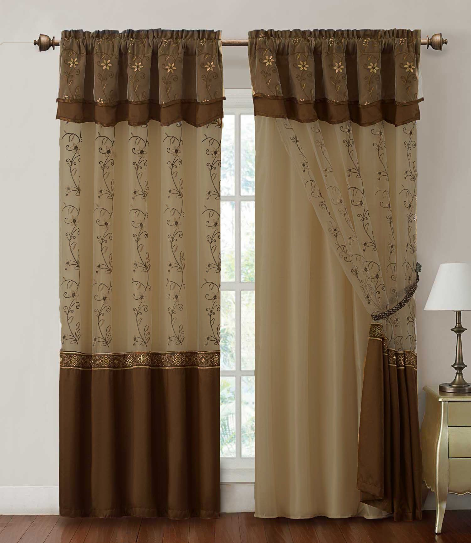 Window Curtain Drapery Sheer Panel One Piece W Attached Backing