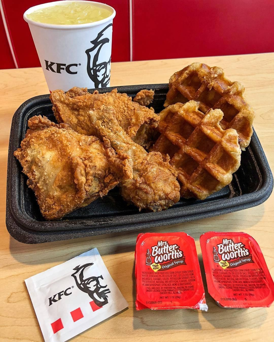 Chicken And Waffles From Kfc Source Food Food Cravings
