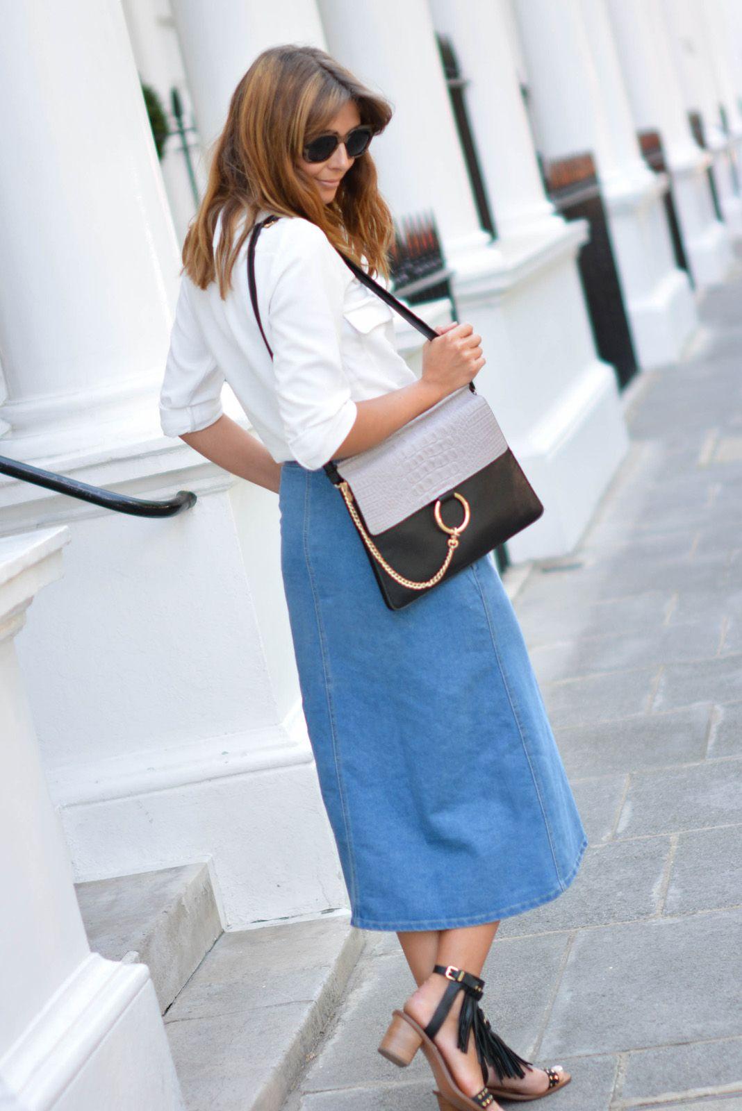 47cf64b2440 EJSTYLE wears denim button up midi skirt, Chloe Faye dupe bag, Zara ...