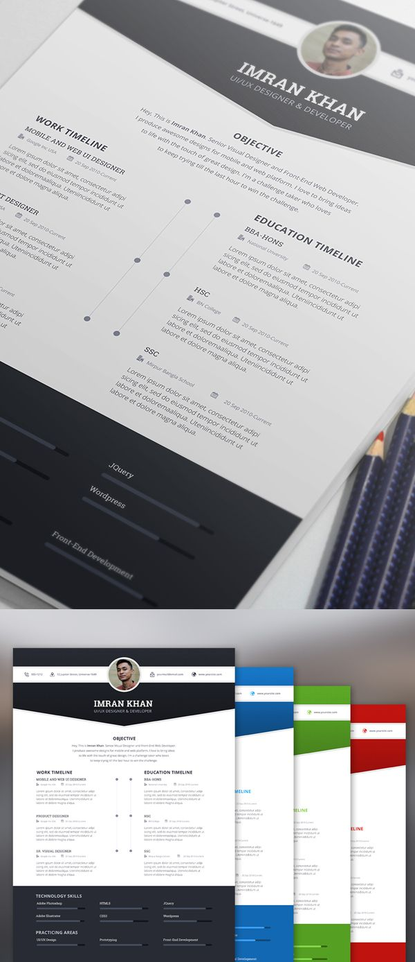 free resume template psd  4 colors
