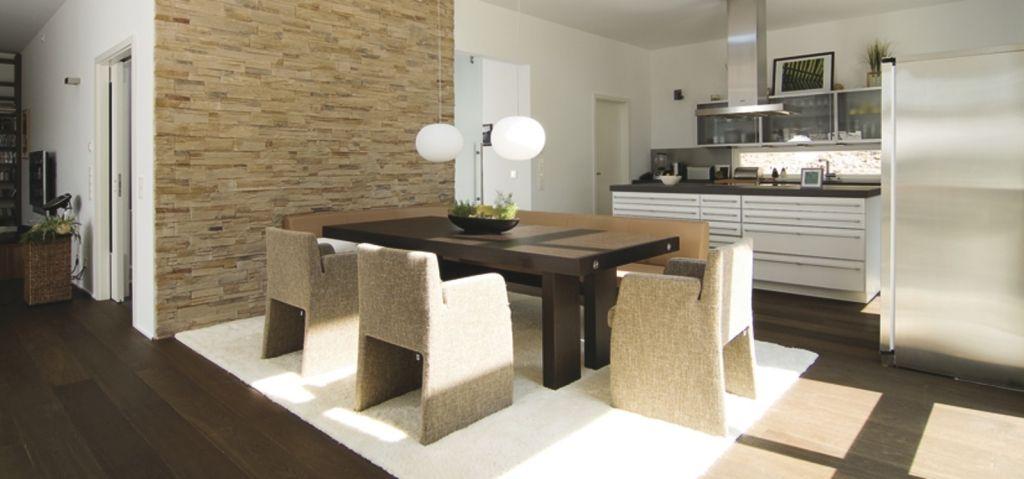 Offene Küche in weiß und Edelstahl mit braunem Esszimmer Haus am - bilder offene küche