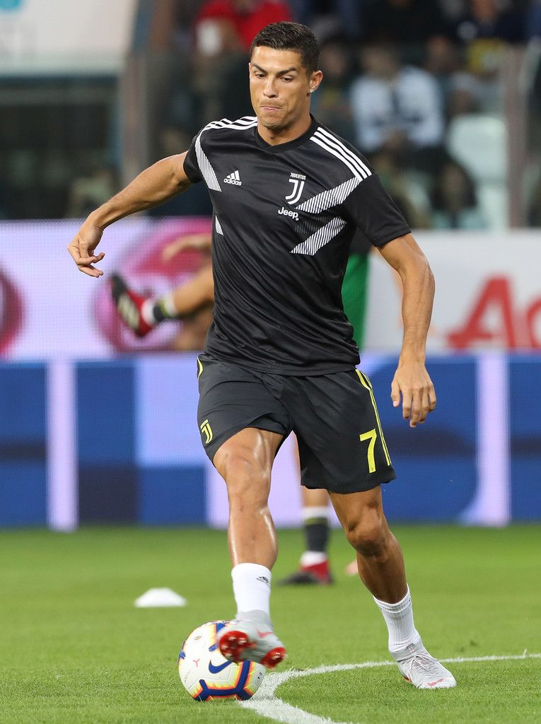 Cristiano Ronaldo Photos - Cristiano Ronaldo of Juventus FC during the warm up prior to the serie A match between Parma Calcio and Juventus at Stadio Ennio Tardini on September 1, 2018 in Parma, Italy. - Parma Calcio vs. Juventus - Serie A