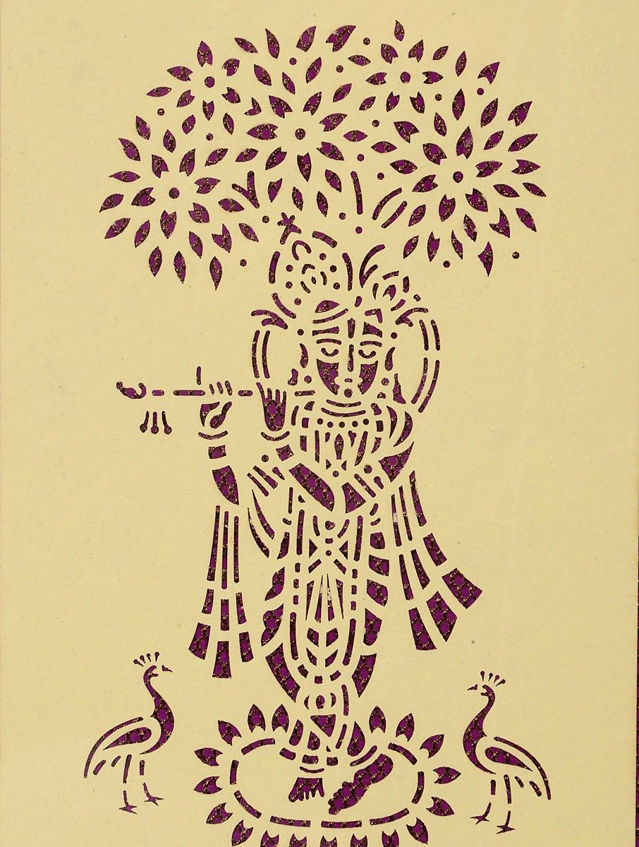 Shree Krishna Magenta Sanjhi Stencil | Stencil and Stamp | Pinterest ...