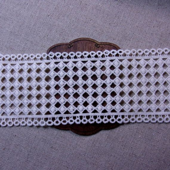 Lovely Embroidered Cotton Crochet Lace Trim Craft Ivory 6cm(2.4) Wide 1Yd #420 #dollunderware