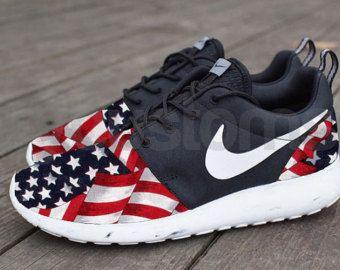 Free Shipping -- Nike Roshe Run Black Marble American Flag Pride V5 Edition  Custom Men