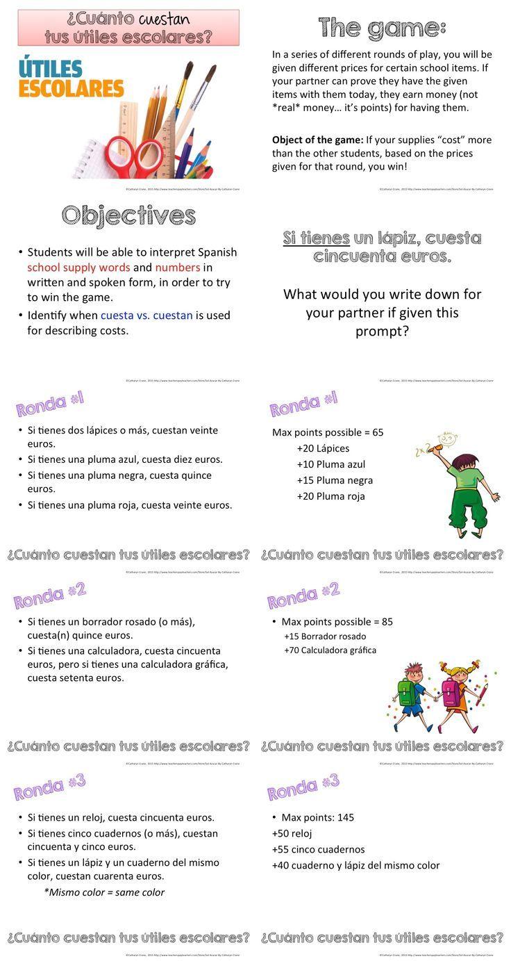 Workbooks las posadas worksheets : Cuánto cuestan las cosas en tu mochila - Spanish School Supply ...