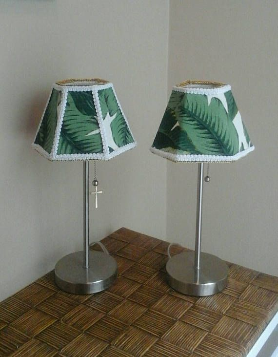 Listing Is For The Pair People Love Leaves These Small Hand Sewn Hexagon Lamp Shades Are Ideal A Candelabra Candlestick Or Wall